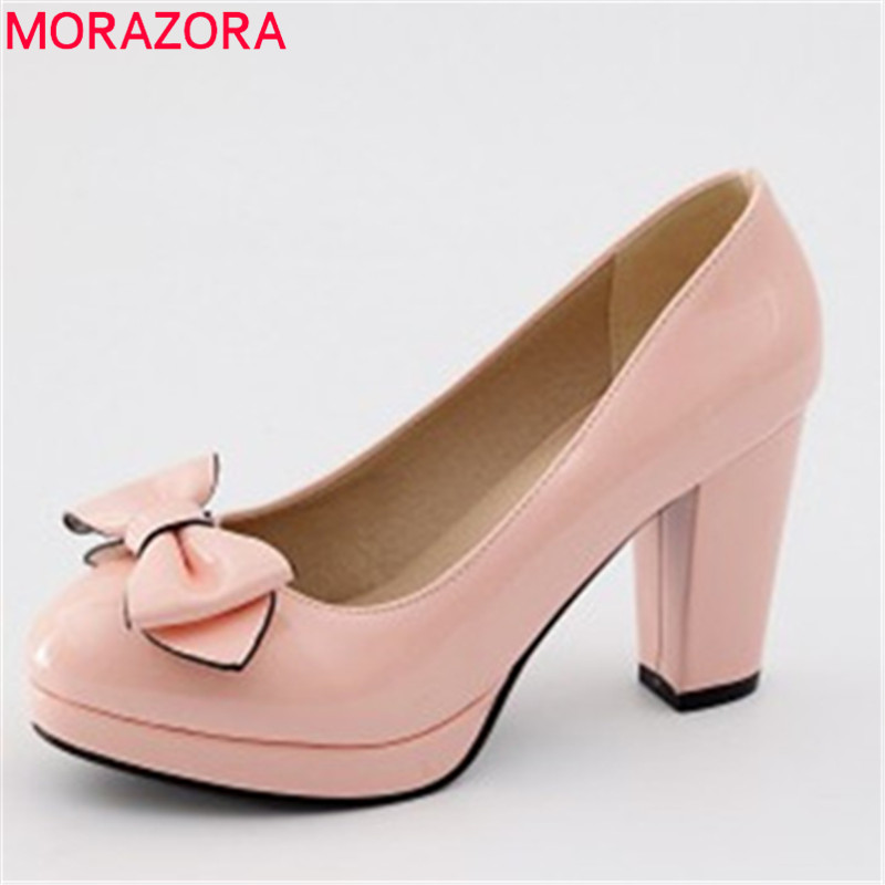 MORAZORA 2018 big size 33-47 fashion new shoes woman round toe bowknot prom wedding pumps women shoes casual high heels shoes ladylike women s pumps with round toe and bowknot design