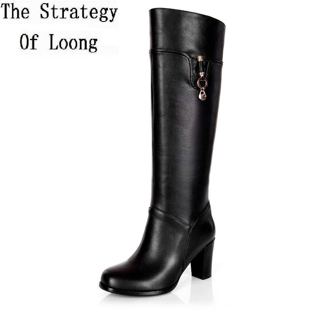 Women Winter Thick High Heel Genuine Leather Round Toe Fashion Knee High Knight Boots Plus Size 33-45 SXQ1007 women winter genuine leather thick high heel side zipper round toe fashion mid half boots plus size 34 45 sxq1007