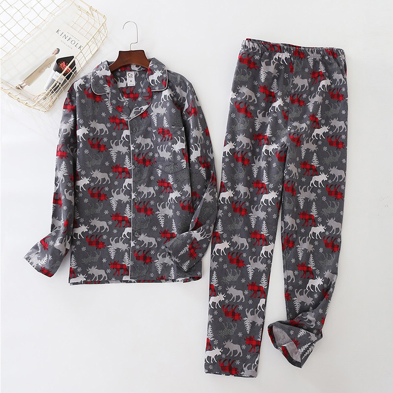 100% Cotton Deer Pajamas Sets Mens Sexy Plaid Casual Sleepwear For Male Pyjamas Pijama Hombre Mens Cartoon Pajamas
