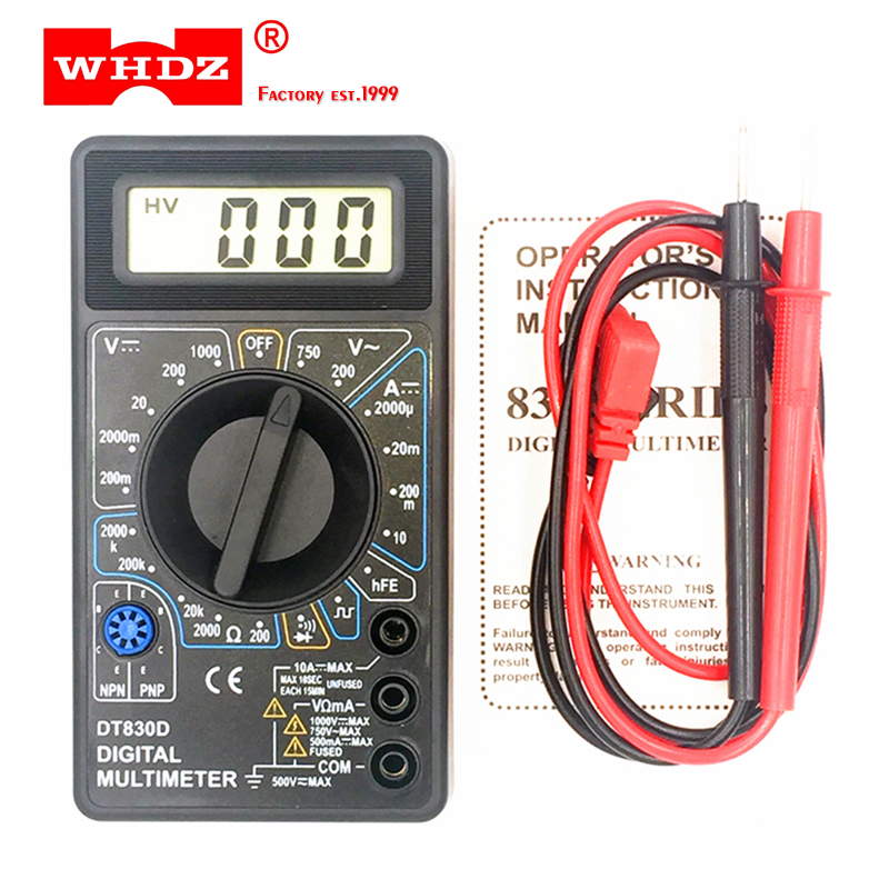 WHDZ DT-830D Mini Digital Multimeter With Buzzer Overload Protection Safety Voltage Ampere Ohm Tester Probe DC AC LCD Black