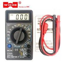 WHDZ DT-830D Mini multimètre numérique avec avertisseur sonore protection contre les surcharges tension de sécurité ampère Ohm testeur sonde cc ca LCD noir