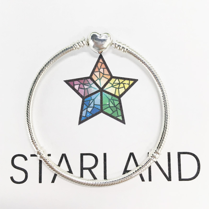Starland Fine Detail Authentic 925 Sterling Silver Snake Chain Heart Clip Charm Bracelet & Bangle Luxury Women Jewelry 16cm-21cmStarland Fine Detail Authentic 925 Sterling Silver Snake Chain Heart Clip Charm Bracelet & Bangle Luxury Women Jewelry 16cm-21cm