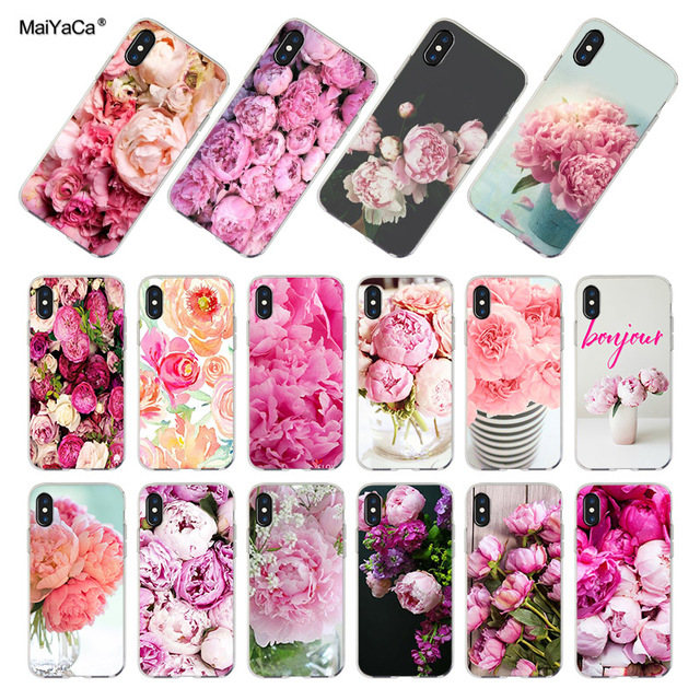 Maiyaca For Iphone 7 X 6 Xr Xs Max Case Flower Pink Peonies Peony
