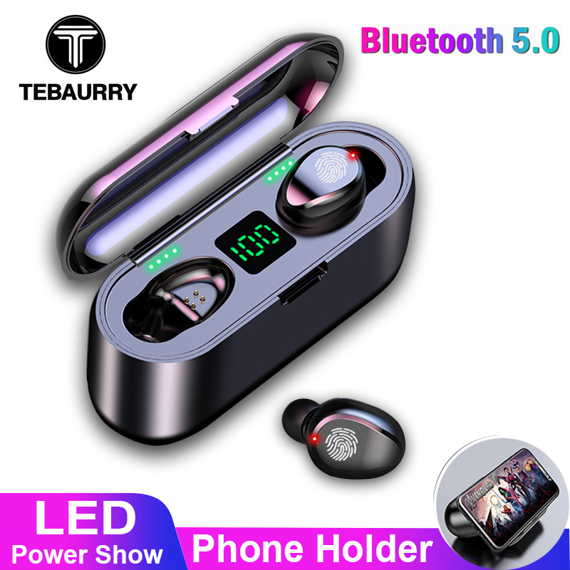 TWS V5.0 Bluetooth <font><b>Earphone</b></font> <font><b>8D</b></font> Stereo Wireless Headphones Sport Wireless <font><b>Earphones</b></font> with LED 2000 mAh Charging Bin Phone Holder image