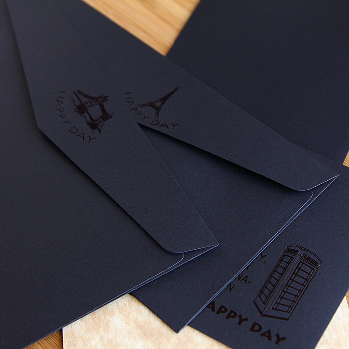 classic black paper envelopes for gift invitation card yn 110601 in