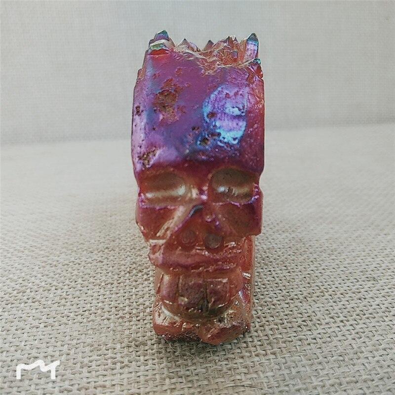 Природный кварцевый кристалл образец кластер резной череп гальванический цвет