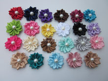 Free Shipping! 30pcs/lot DIY flower WITHOUT CLIP,Satin Ribbon Multilayers Flower With Pearl,Girl's Hair Accessories(China)