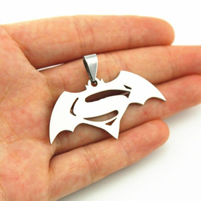 Batman Superman Symbol Stainless Steel Pendant