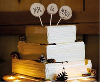 3PCS Wooden Mr & Mrs Cake Toppers Pick Cake Stick Wedding Marriage Anniversary Party Events Favor Wedding Table Decoration