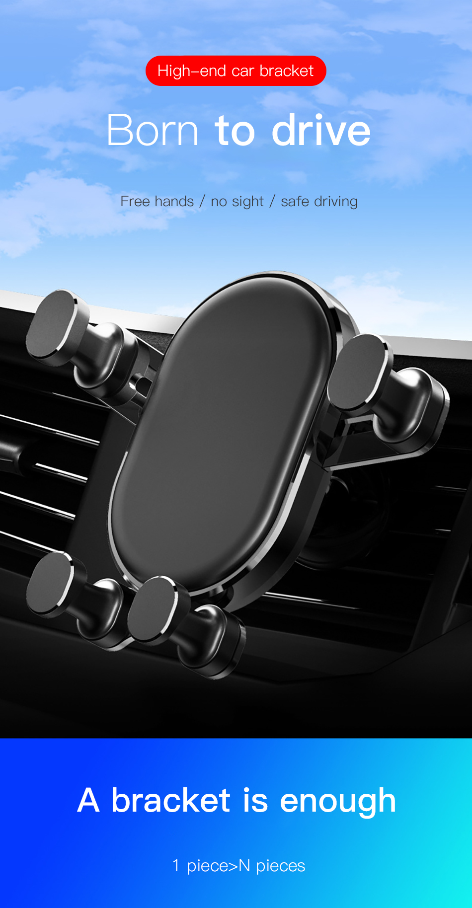 !ACCEZZ Universal Gravity Car Phone Holder In Car Air Vent Mount Stand For iPhone 6 7 8 X XS Samsung Xiaomi Mobile Phone Bracket (2)