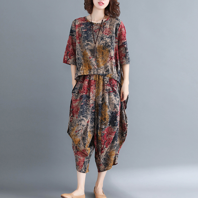 0898 Tie Dye Printed Long Top And Harem Pants Women Loose Vintage Two Piece Sets Top And Pants Outfits Woman Sets Clothes Tide in Women 39 s Sets from Women 39 s Clothing