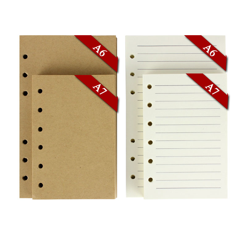 RuiZe vintage notebook filler paper 6 ring binder 80 sheets blank kraft paper white paper with lines A7 A6 notebook inner paper