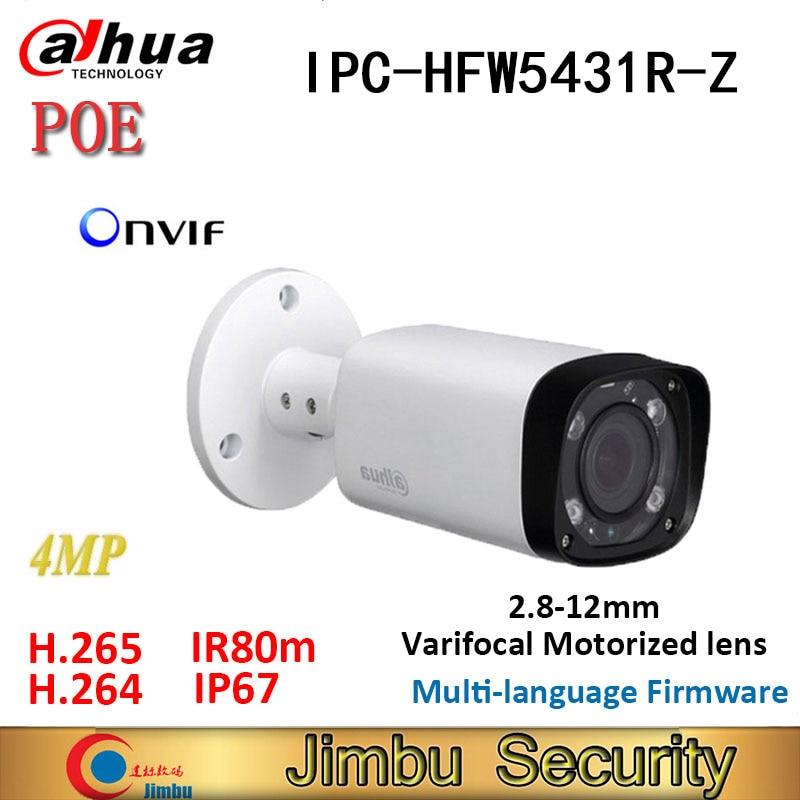 Dahua Ip-camera POE 4MP H.265 IPC-HFW5431R-Z  Varifocal Motorized Lens 2.8mm ~12mm WDR IR 80M Bullet Camera Onvif