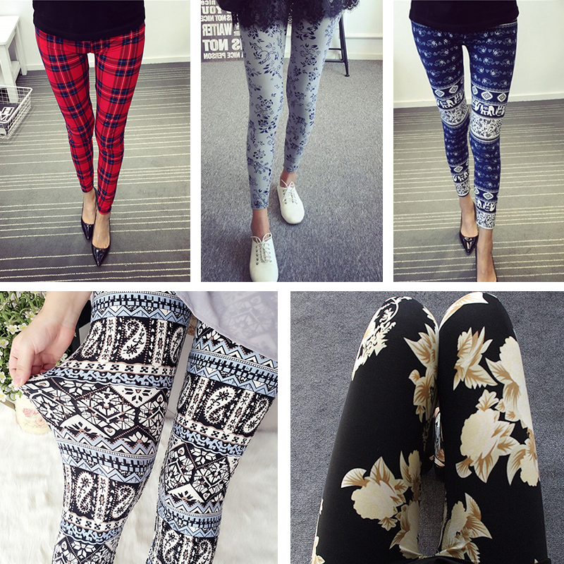 ladies Leggings Women summer autumn stretch Leggings animals flower blue and white printing Pencil pants Trousers 15 styles ...