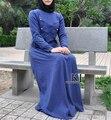 2015 Malasia abayas en Dubai Islámica Musulmán vestido largo para Las Mujeres damas Turcas ropa de alta calidad a largo vestido con botones