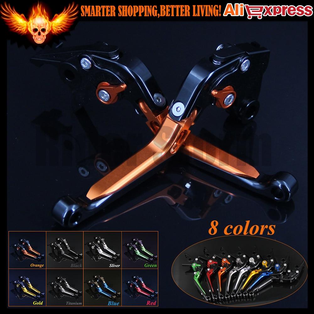 ФОТО Orange+Black 8 Colors CNC Adjustable Folding Extendable Motorcycle Brake Clutch Levers For KTM 690 Duke/SMC/SMCR 2014 2015 2016
