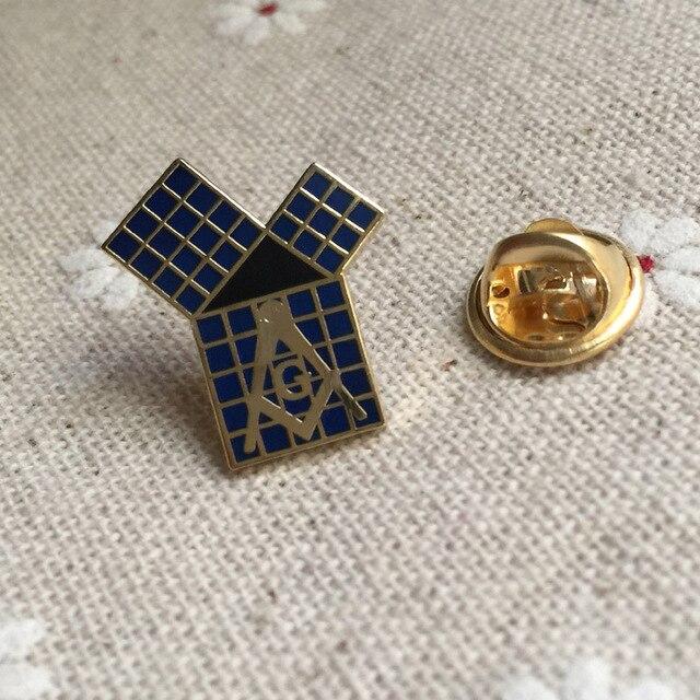 MASONIC Metal Blue Lodge | Problème de 47th, Pythagorean, théorème avec épingle à revers à grille, maçon, franc-maçon EXC franc-maçonnerie