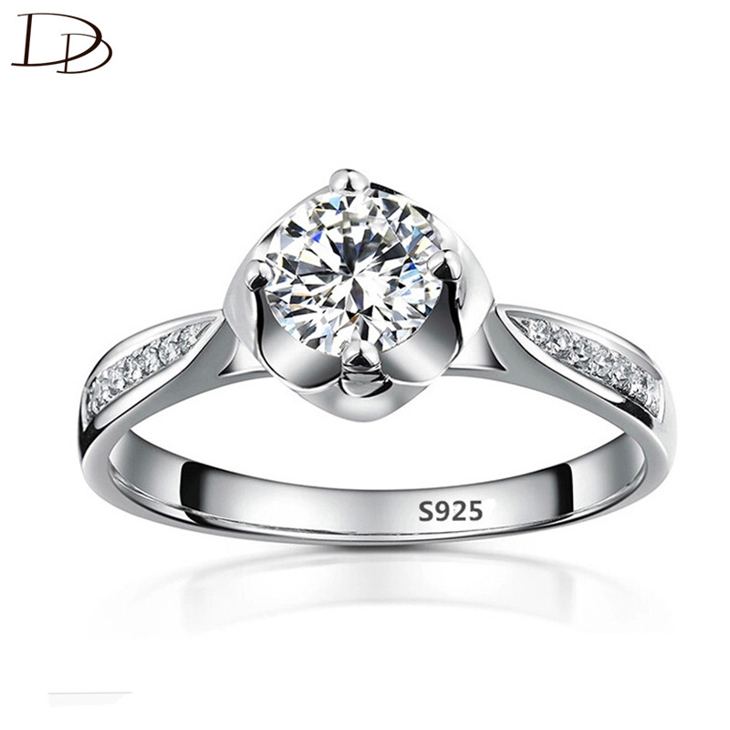 DODO Sweet Flowers Zircon Rings For Women Wedding Promise Ring 925 Sterling Silver Fine Jewelry High Quality Anel Bijoux DD074