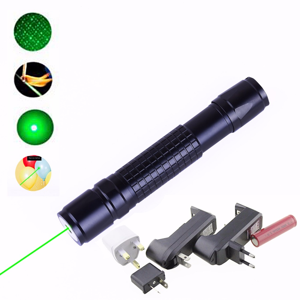 8000-10000 Meters Green Laser Pointer 305 Military Lazer 532nm With Star Cap flashlight Adjustable Focus For 18650 Batteries