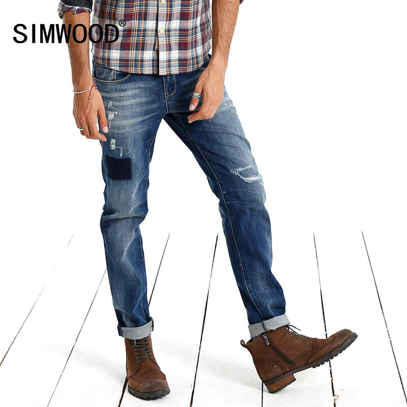 Simwood Men Jeans 2017 New Arrival Famous Brand Long Pants Men Hole Slim Fit Denim Trousers High Quality Free Shipping SJ619 2017 slim fit jeans men new famous brand superably jeans ripped denim trousers high quality mens jeans with logo ue237