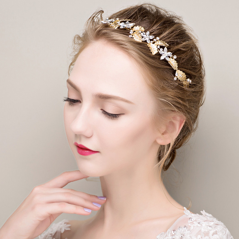 Gold-Silver-Leaf-Wedding-Headpiece-Crystal-Floral-Bridal-Headband-Hair-Accessories- (1)
