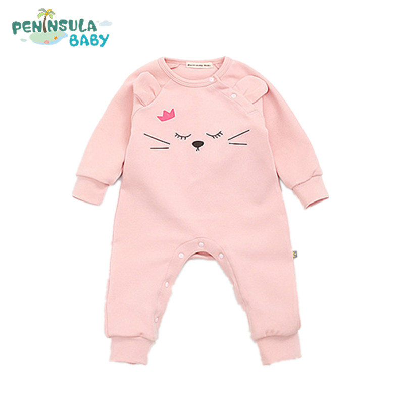 2017 Spring Autumn Newborn Rompers Baby Boys Girls Clothes Long Sleeve Cute Cartoon Queen Cat Face Cotton Infant Jumpsuit 0-24M купить