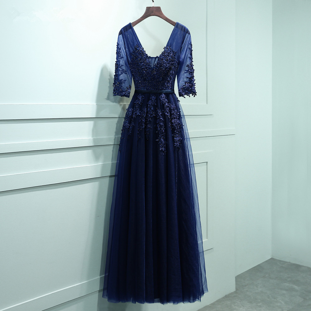 2017 vestidos de baile Stock Navy Blue A line Prom dresses vestido ...