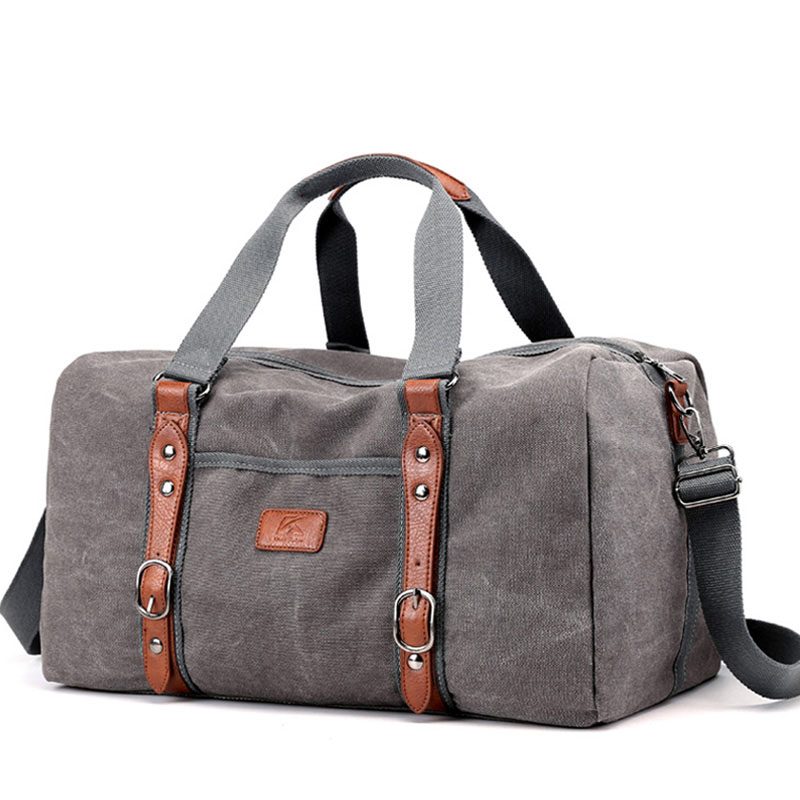 Canvas Duffle Bags Vintage Thick Canvas & Leather Traveling Bag Men Hand Luggage Travel Bag Weekend Overnight Packing XA216ZC