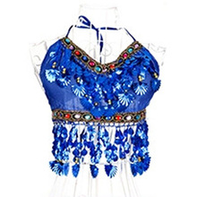 Sexy Handmade Belly Dance Bra tops Crystal Sequins Beads Bells Peppers Costumes