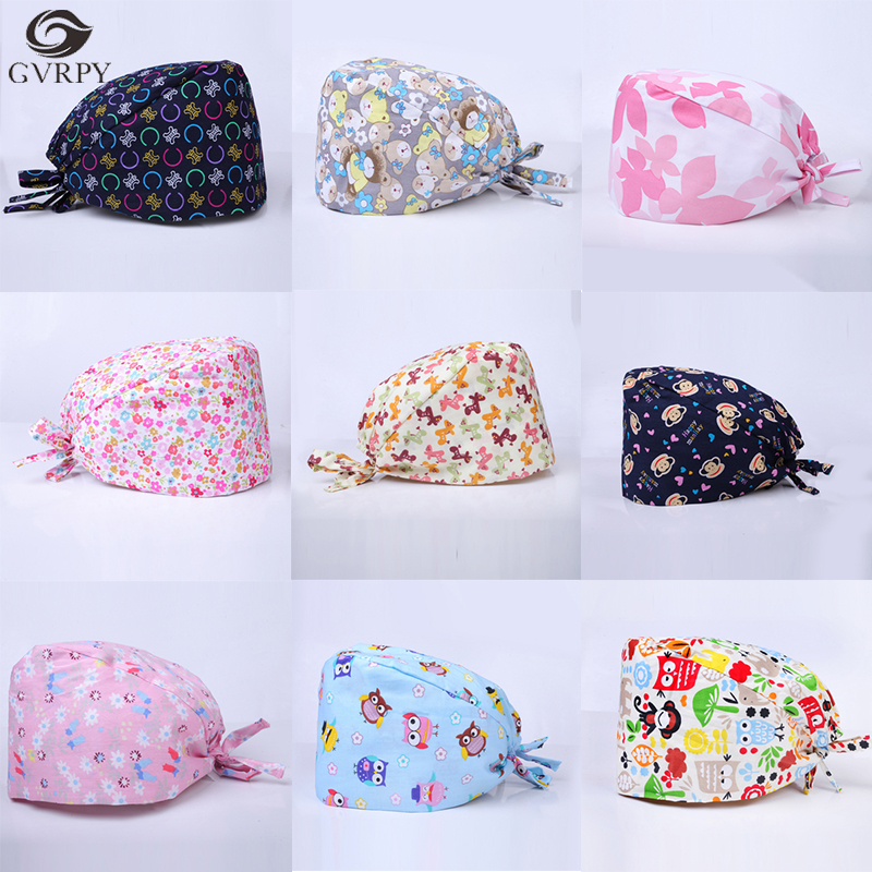Cotton Printing Adjustable Operating Room Doctor Nurse Medical Cap Oral Dental Cosmetic Plastic Work Cap With Sweat Towel Unisex