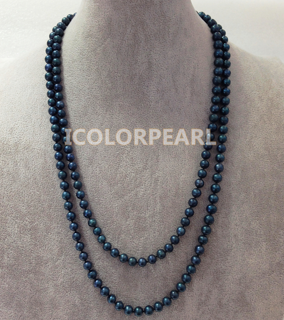 Classic 125cm Long 8-9mm Nearround Peacock Black Freshwater Pearl Jewelry Sweater Necklace.