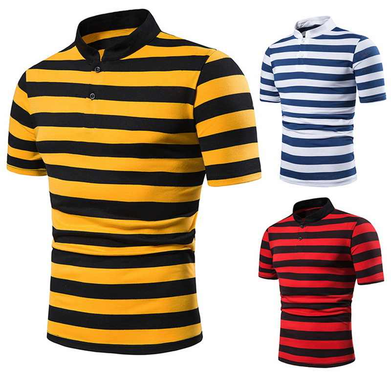 2019 Summer Men Classic Colorful Stripe Polo Shirt Design Men Short Sleeve Polo Shirts Slim  Mens Tops Casual Men Clothing