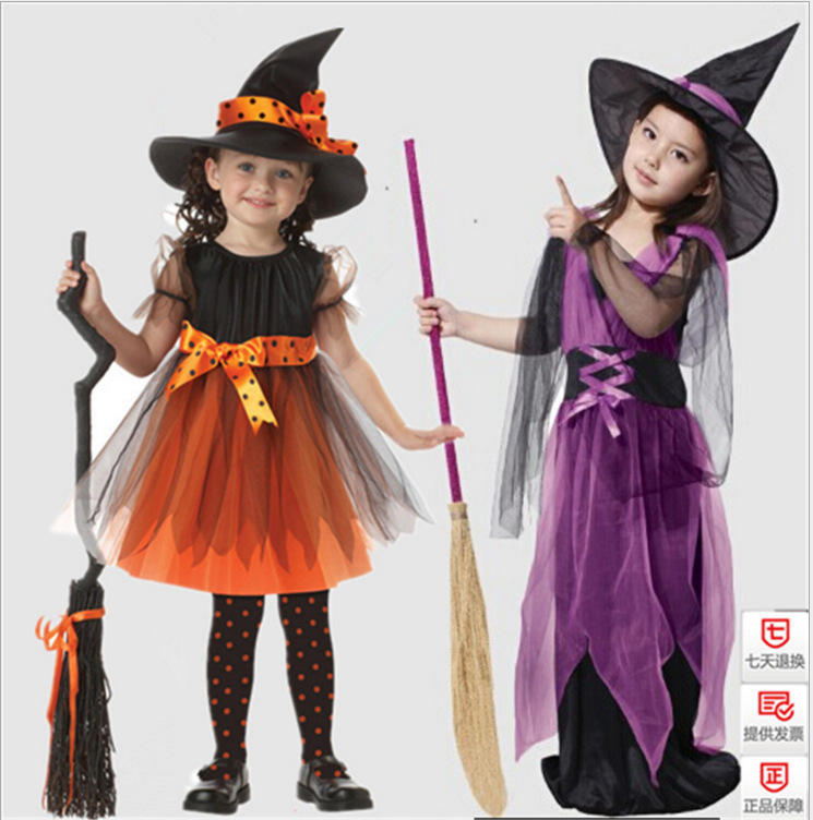 Halloween Witch Cosplay Dress Children Masquerade Cosplay Child Show Costume for Girls Hat+Dress