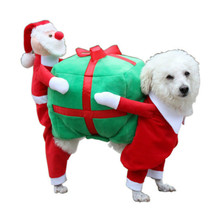 Santa Claus Carry Gift Christmas Dog Clothes For Small Dogs Winter Coat French Bulldog Jacket Chihuahua Outfit Puppy Pet Clothes cartoon funny christmas dog clothes for small dogs winter coat french bulldog jacket chihuahua shih tzu outfit puppy pet clothes