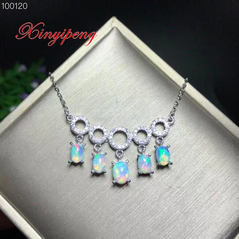 Xin yi peng 925 silver inlaid natural opal necklace, necklace woman, elegant fashion, holiday anniversary gift браслет 925 3m yi skub012