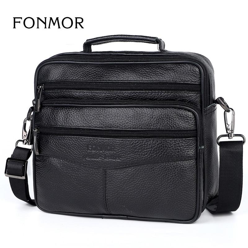 FONMOR Business Fashion Genuine Leather Briefcase For Men Travel Bag High Quality Ipad Mini  Shoulder Big Tote Bag Crossbody Bag