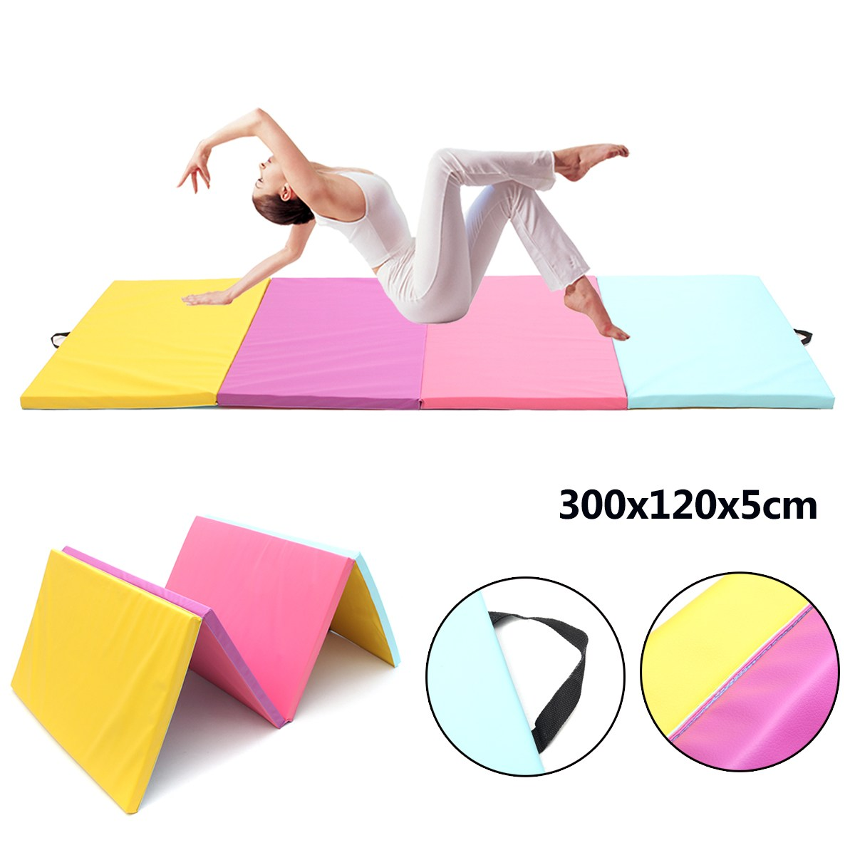 9ft 4 Folding Pu Leder Gymnastik Boden Tanzen Übung Matte Yoga Ausbildung Pad