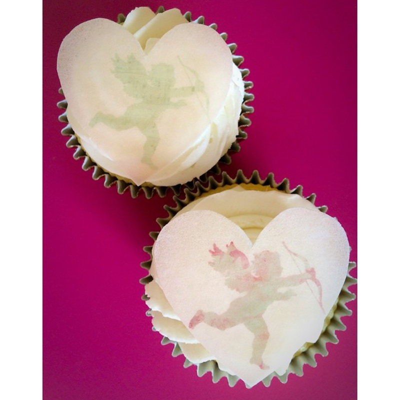 24 Heart I Love You Valentine Cupcake Fairy Cake Toppers Edible Rice Wafer Paper
