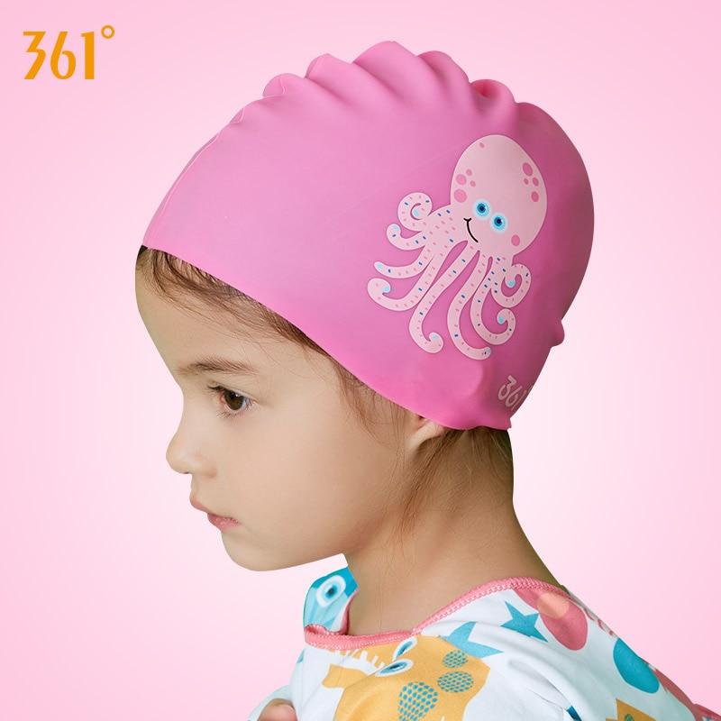 361 Kids Silicone Swimming Caps Professional Swim Cartoon Children Waterproof Long Hair Boy Girl Sports Hat