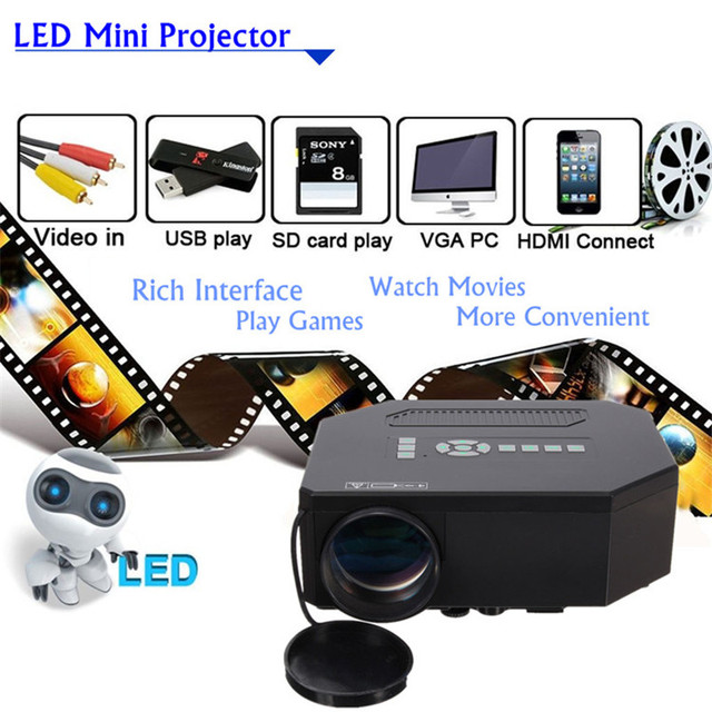 Home Theater Projector 1200Lumens HD HDMI 3D LCD Mini 1080P LED Video Portable Projector FULL HD