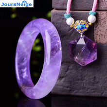 Genuine Lavender Purple Natural Crystal Jewelry Sets Hexagon Star Pendant Necklace With Crystal Bangle Beauty for Women Jewelry