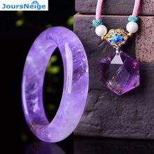 Oryginalna lawendowa fioletowa biżuteria z naturalnych kryształów zestawy sześciokąt wisiorek w kształcie gwiazdy naszyjnik z kryształowa bransoletka uroda dla kobiet biżuteria