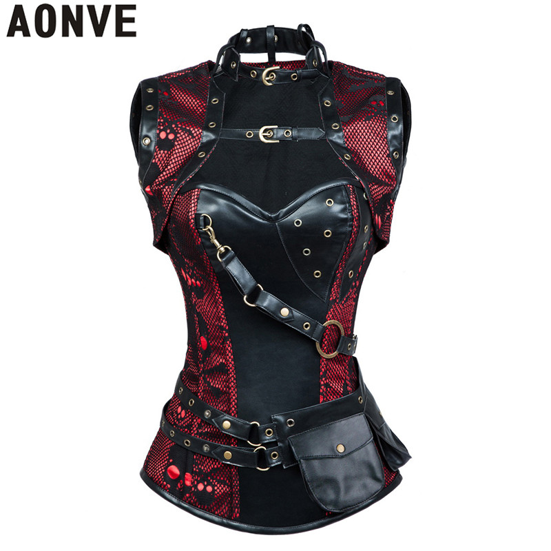 AONVE Women Steampunk Corsets Sexy Lace Up Vintage