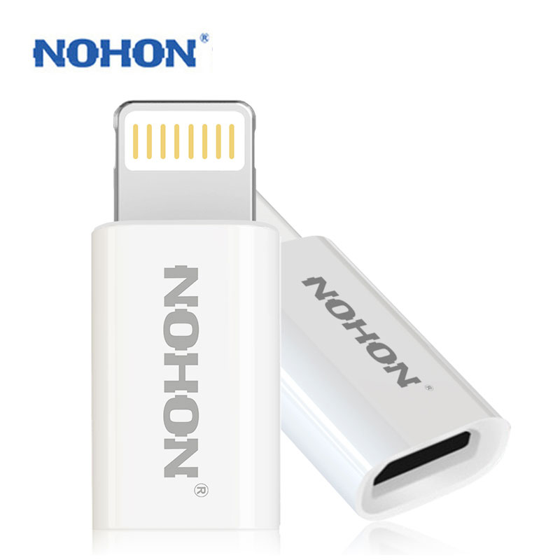 NOHON 8pin USB Adapter Plug To Micro USB Cable Charger For IPhone 8 7 6 6S Plus 5 5S 5C IPad IPod Fast Charging Data Sync Connector