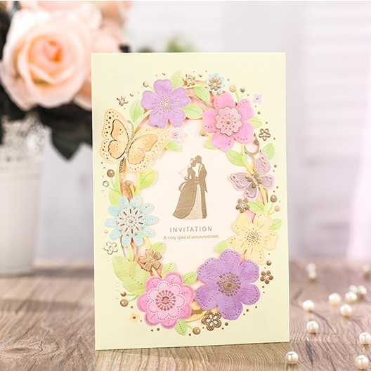 Wonderful Wedding Invitations 2016 Colorful Flower Erfly Party Cards In Free Printing Envelope 50pc