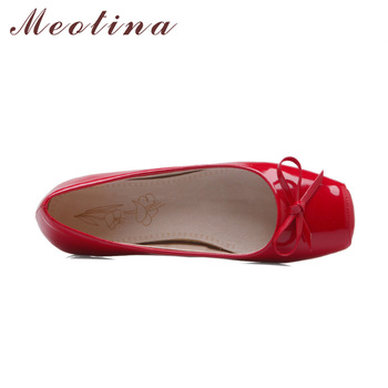 Meotina Women Shoes Ballet Flats Women Flats Bow Square Toe Ballerina Flat Boat Shoes Loafers Shoes Big Size 33-46 Zapatos Mujer 1