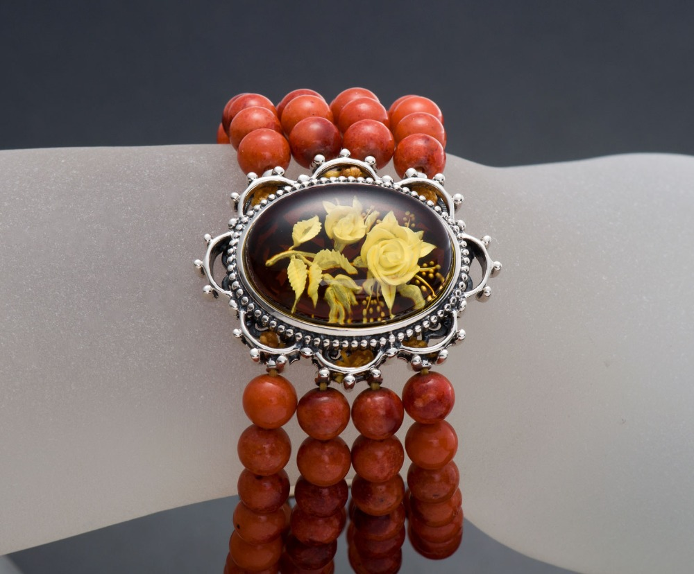 Hutang Vintage Stretch Bracelet Rose Amber & Red Coral 925 Sterling Silver Jewelry Free Shipping