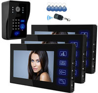 YobangSecurity Video Intercom 7Inch Monitor Wired Video Doorbell Door Phone Intercom RFID Access Control 1 Camera 3 Monitor