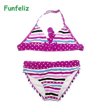 цена на Girls Swimwear biquini infantil swimwear girl Children swimsuit two pieces bathing suit for girls kids bikini set 6-16