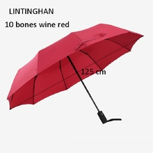 125 cm automatic three-section folding umbrella stainless steel ten bone reinforcement windproof sun protection umbrella 105 cm juqi folding three section two person lover umbrella blue